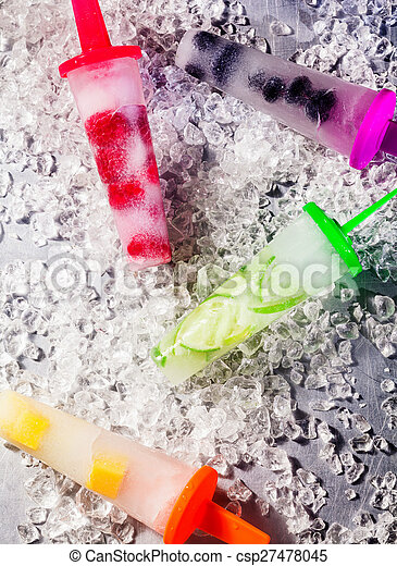 Tropical fruit ice lollipops