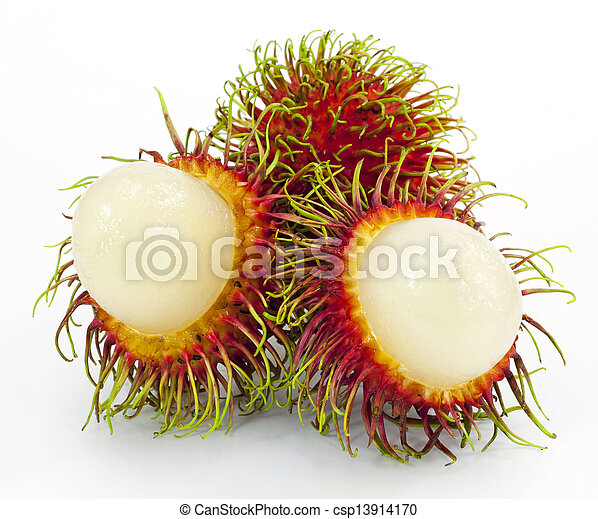 Tropical fruit, rambutan on white background - csp13914170
