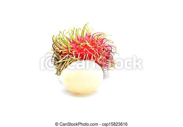 Tropical fruit, rambutan on white background - csp15823616