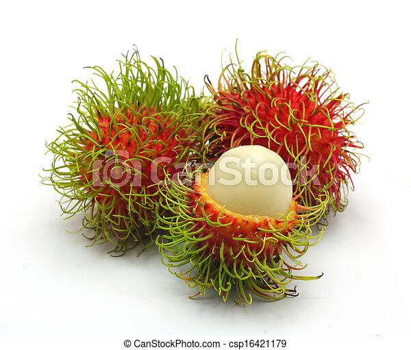 Tropical fruit, rambutan on white background - csp16421179