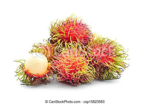 Tropical fruit, rambutan on white background - csp15823583