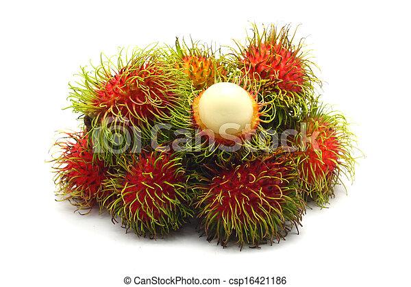 Tropical fruit, rambutan on white background - csp16421186