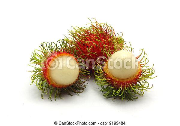 Tropical fruit, rambutan on white background - csp19193484