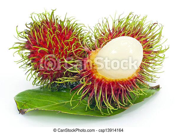 Tropical fruit, rambutan on white background - csp13914164
