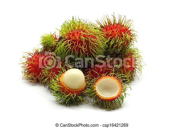 Tropical fruit, rambutan on white background - csp16421269