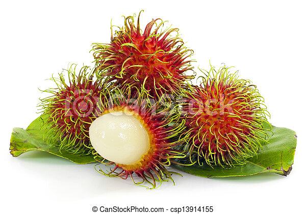 Tropical fruit, rambutan on white background - csp13914155
