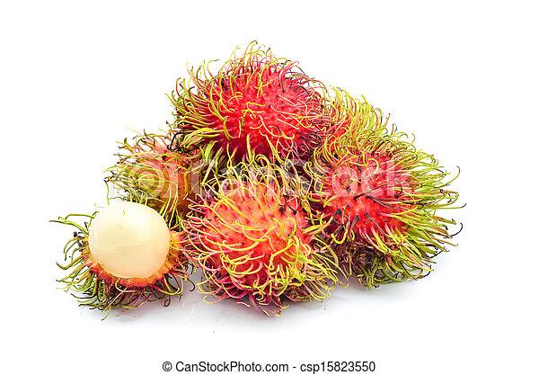 Tropical fruit, rambutan on white background - csp15823550