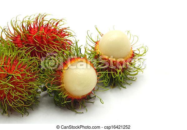 Tropical fruit, rambutan on white background - csp16421252