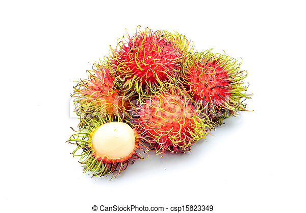 Tropical fruit, rambutan on white background - csp15823349