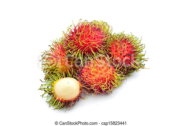 Tropical fruit, rambutan on white background - csp15823441