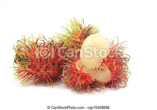 Tropical fruit, rambutan on white background - csp15428698