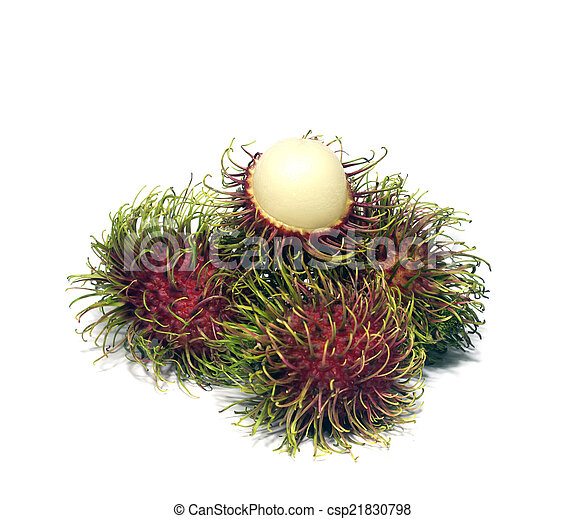 Tropical fruit, rambutan on white background - csp21830798
