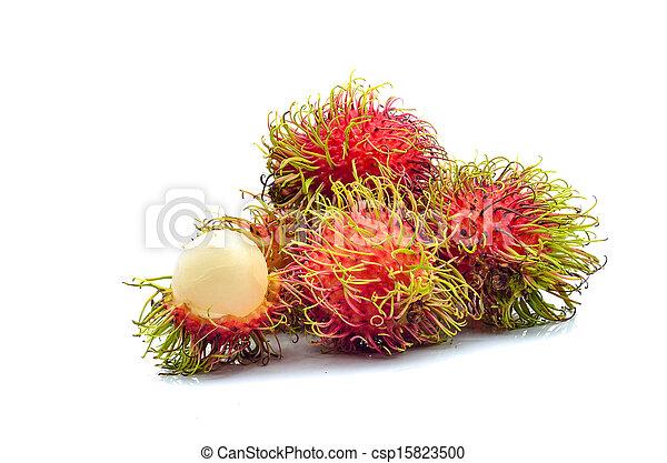 Tropical fruit, rambutan on white background - csp15823500