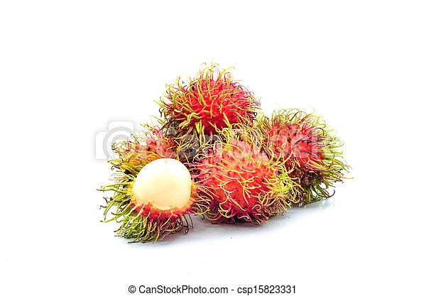 Tropical fruit, rambutan on white background - csp15823331