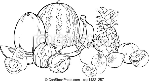 Clipart Vector Of Tropical Fruits Illustration For Coloring Book
