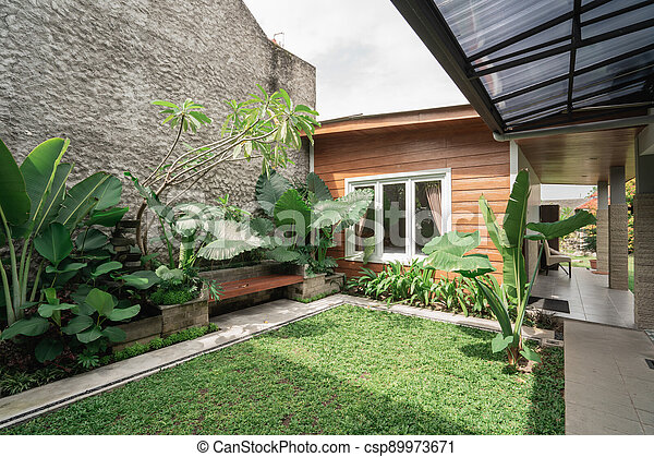 Tropical Garden backyard - csp89973671