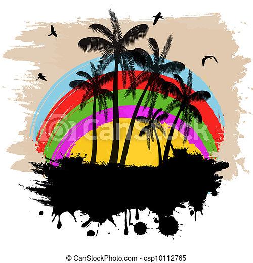 Trasfondo de grunge tropical - csp10112765