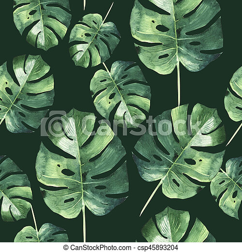 Tropical Hawaii leaves palm tree pattern in a watercolor style isolated. - csp45893204