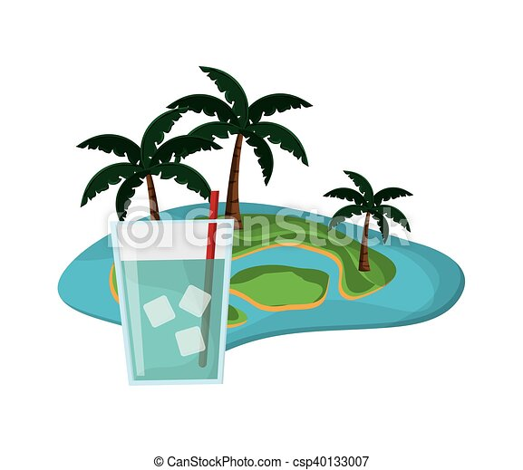 flat design tropical island and glass of water icon vector vector rh canstockphoto com island vector free island victoria hislop