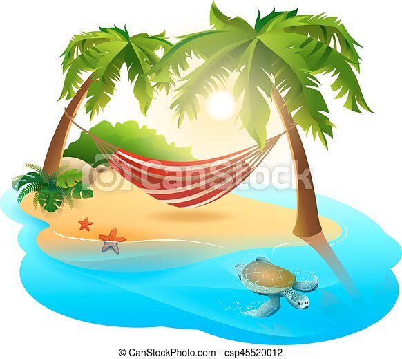 tropical island and hammock among palm trees isolated on