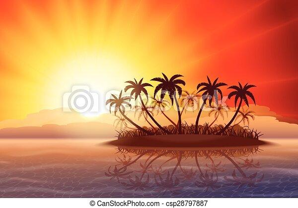 Tropical island at sunset - csp28797887