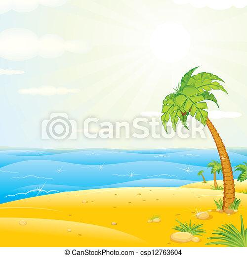 Tropical Island Beach. Vector Illustration - csp12763604