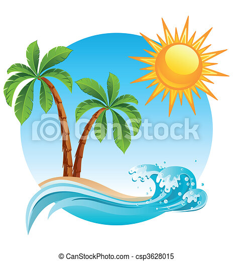 tropical island vector illustration two palm tree on the tropical rh canstockphoto com tropical island clipsrt free tropical island clipart images