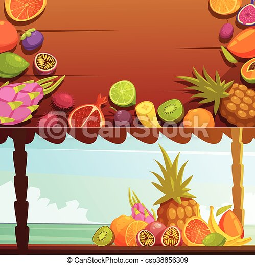 Tropical island fruit banners set. Tropical island summer ...
