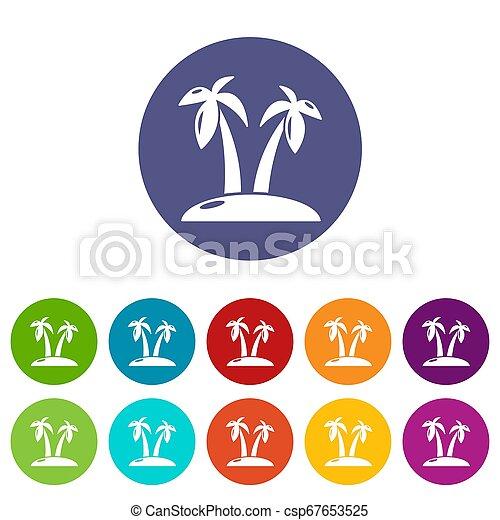 Tropical island icons set color - csp67653525