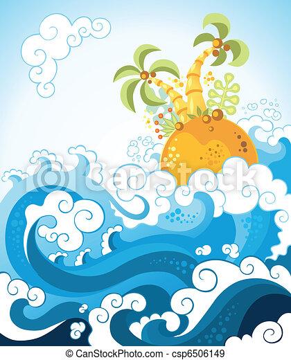 Tropical island in the ocean - csp6506149