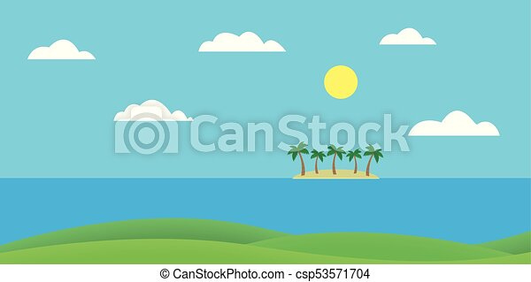 Tropical island in the sea with sandy beach and palm trees under blue sky with clouds and sun - vector - csp53571704