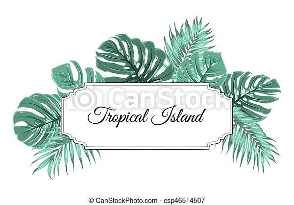 tropical island jungle tree leaves border frame tropical island