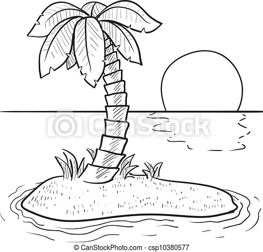Tropical island sketch - csp10380577