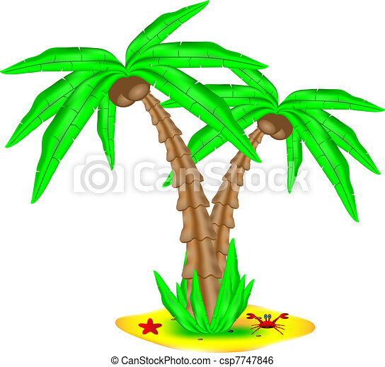 Tropical island with coconut palm - csp7747846