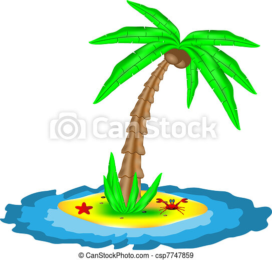 Tropical island with coconut palm - csp7747859