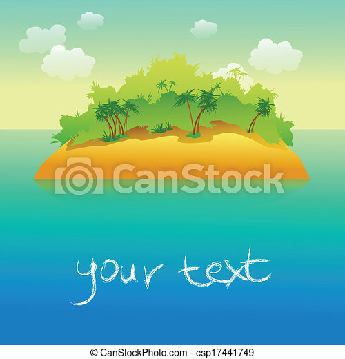 tropical island with palm  - csp17441749