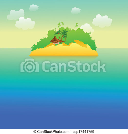 tropical island with palm trees - csp17441759