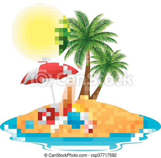 Tropical island with palm trees - csp37717592