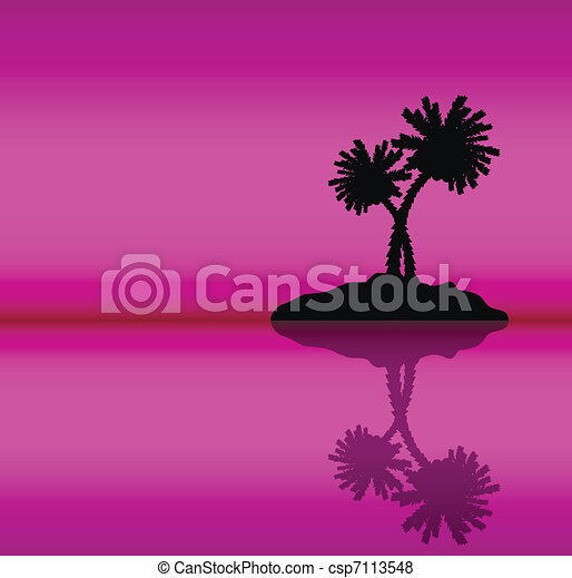 Tropical island with palms . Evening. - csp7113548
