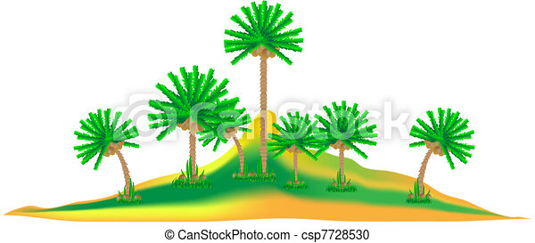 Tropical island with palms on white - csp7728530