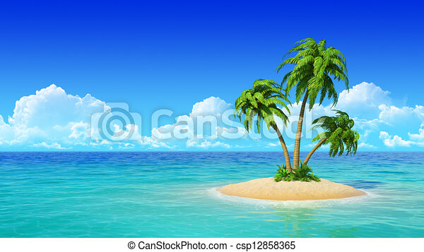 tropical island with palms desert tropical island with palm tree rh canstockphoto com Tropical Clip Art Tropical Boarder