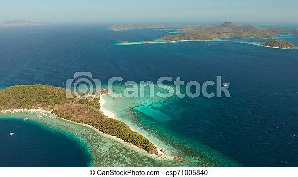 Tropical Island With Sandy Beach Philippines Palawan