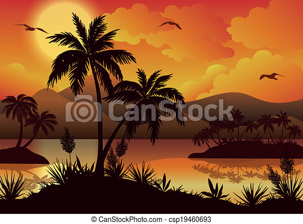 Tropical islands, palms, flowers and birds - csp19460693