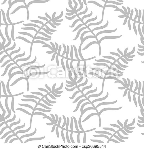 Tropical jungle palm leaves pastel gray color pattern. - csp36695544