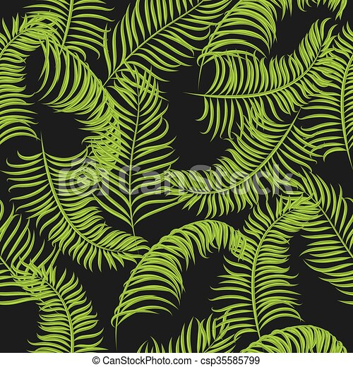 Tropical Jungle Palm Leaves Vector Pattern Background
