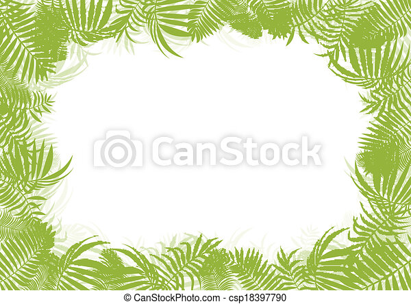 Tropical jungle rain forest vector background blank frame template concept with copy space center - csp18397790