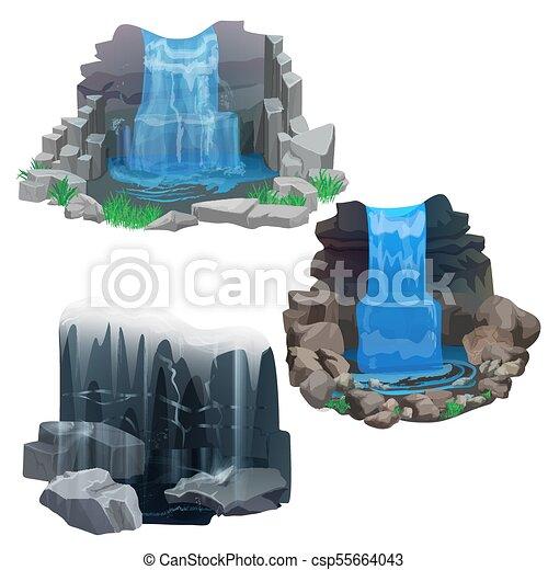 Tropical jungle waterfall set  Ice Frozen waterfall