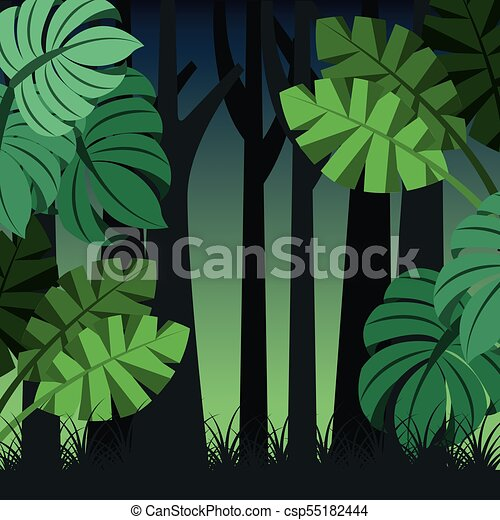 Tropical Landscape Trunks Nature And Palm Leaves Vector Illustration Tropical landscapes are lush, colorful, exotic and pulsing with life. can stock photo