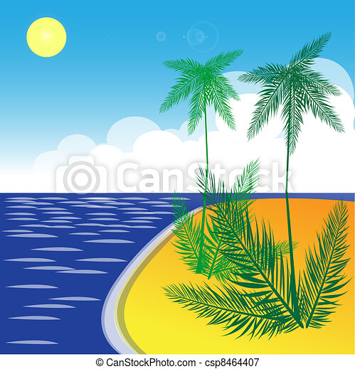 Tropical Landscape With Beach Sea And Palm Trees Vector