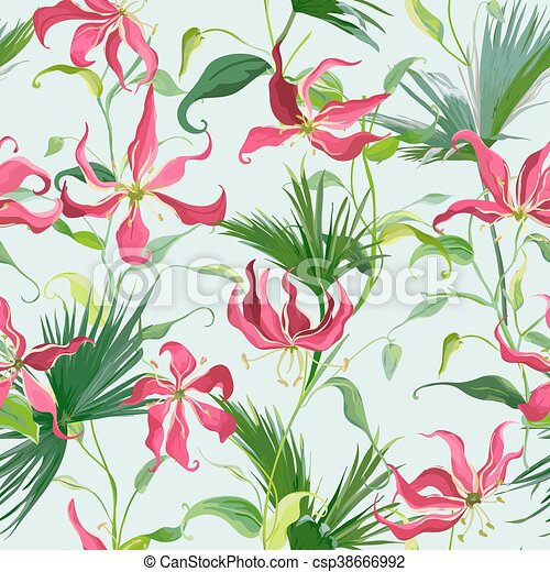 Tropical Leaves And Flowers Background Seamless Pattern In Vector Canstock Every day new pictures and just beautiful wallpaper for your desktop flowers completely free. https www canstockphoto com tropical leaves and flowers background 38666992 html